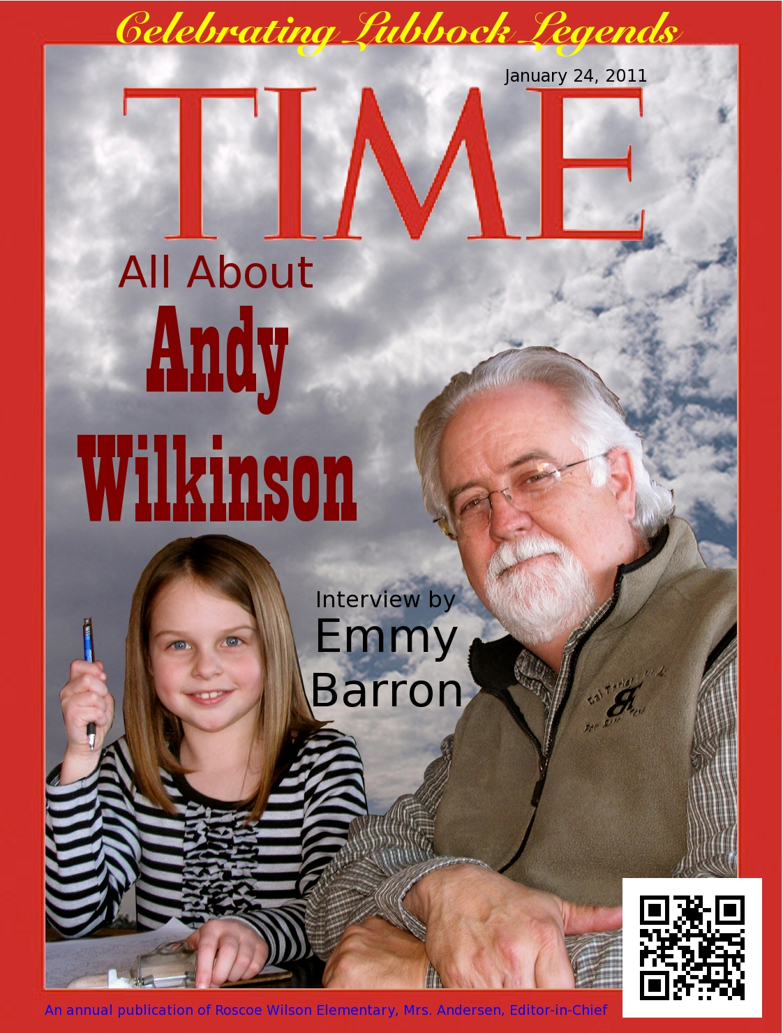 "front ""time"" cover for Emmy's 2nd Grade Project"